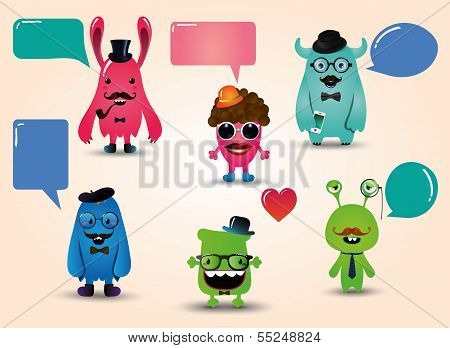 Vector Hipster Monsters Set with Speech Bubbles Illustration