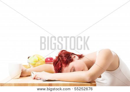 Woman Sleeping At Breakfast