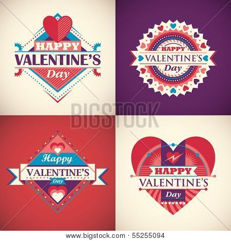 Happy Valentine's day cards. Vector illustration.