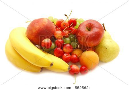 Banana, Sweet Cherry, Apple, Pear, Apricot, Peach And Grapes On A ...