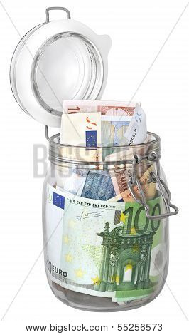 Euro Banknotes In Jar