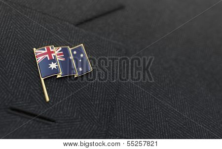 Australia Flag Lapel Pin On The Collar Of A Business Suit