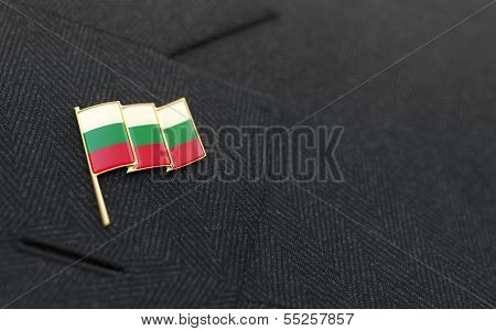 Bulgaria Flag Lapel Pin On The Collar Of A Business Suit