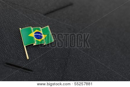Brazil Flag Lapel Pin On The Collar Of A Business Suit