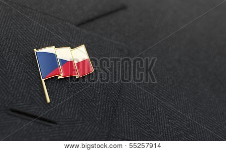 Czech Republic Flag Lapel Pin On The Collar Of A Business Suit