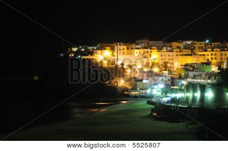 Town Morro Jable Illuminated At Night, Fuerteventura