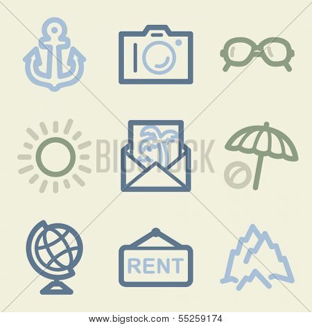 Travel web icons, money color set