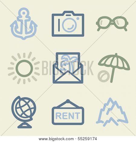 Travel web icons, money color set