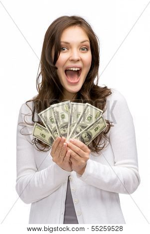 Half-length portrait of happy woman holding cash, isolated on white. Concept of wealth and income
