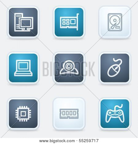 Computer web icon set, square buttons