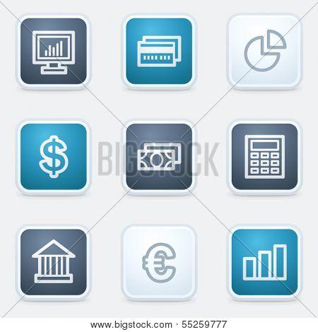 Finance web icon set 1, square buttons