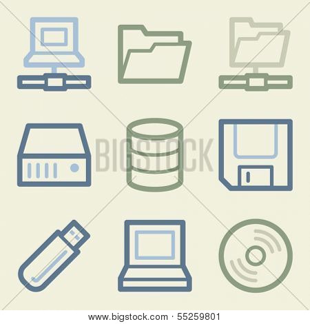 Drive storage web icons, money color set