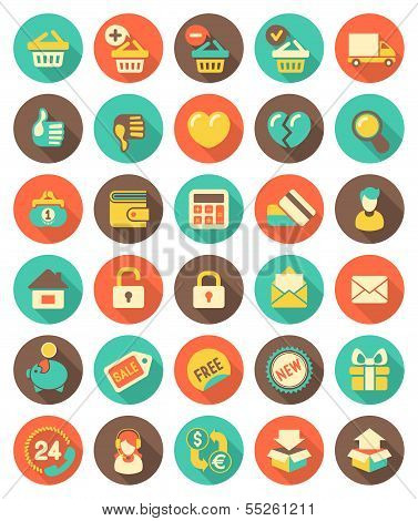 Flat Shopping icons with long shadows