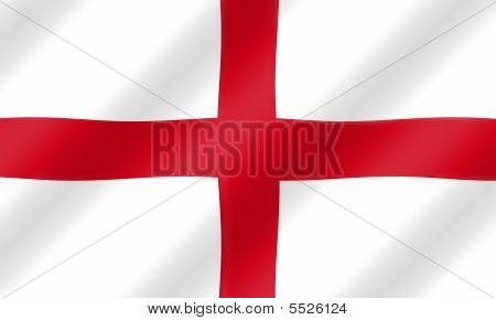 English St. George Flag Blowing In The Wind  Illustration.