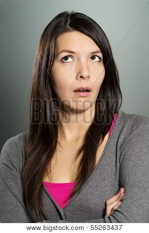 Attractive Woman With A Sceptical Expression