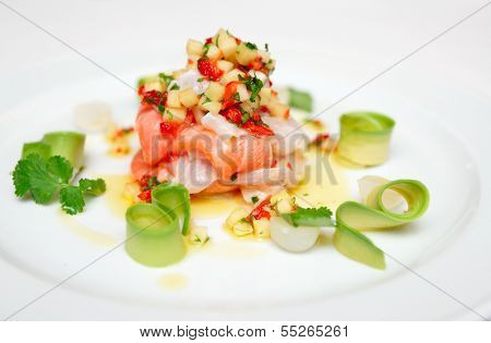Ceviche of seabass and salmon with finely cut vegetables