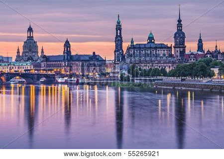 Dresden, Germany above the Elbe River at dawn.