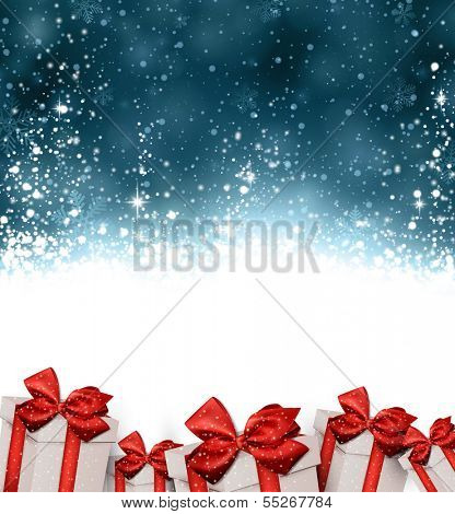 Dark blue winter abstract background. Christmas background with gift boxes. Vector.