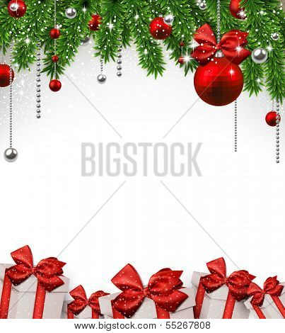 Christmas background with fir twigs and red balls. Vector gift boxes.