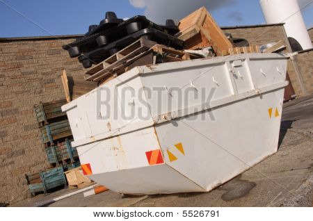 Industrial Recycle Skip With Trash Waste Outside, Ad On White