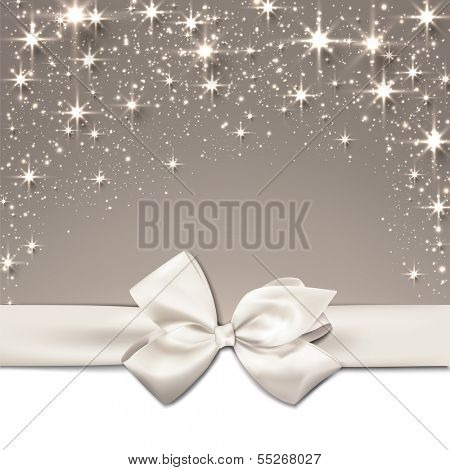 Beige christmas abstract background. Holiday illustration with stars and sparkles. Vector.