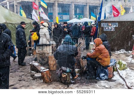 Protest On Euromaydan In Kiev Against The President Yanukovych