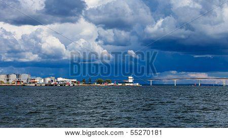 Oresundsbron. Oresund Bridge Link Denmark Sweden Baltic Sea.