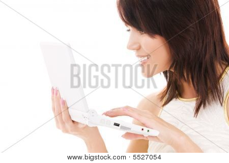 happy Woman with Laptop-computer