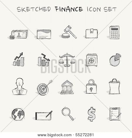 Sketched finance icon set