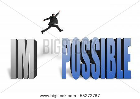 Businessman Jumping To Concrete Word Possible In White Background