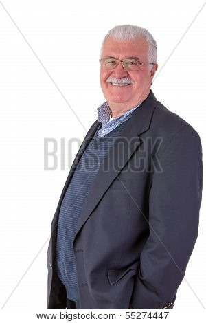 Friendly Senior Adult Looking At You Genuinely Happy With His Glasses