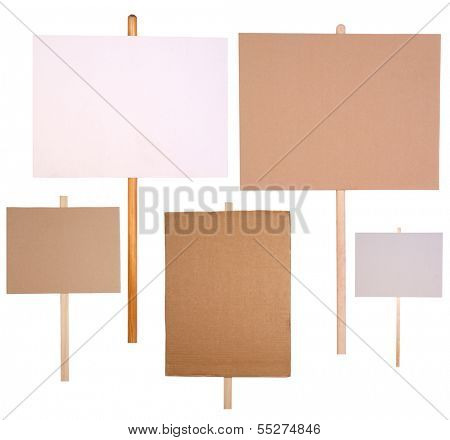 Protest signs isolated on white background