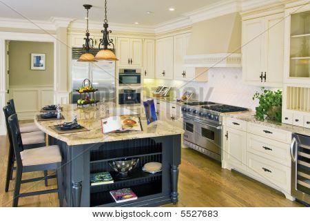 A Luxury Kitchen with Granite Island