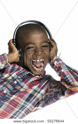 African Boy With Headphones Listening To Music
