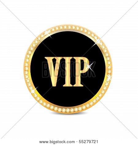 Medal With The Word Vip  Isolated On White Background.insignia In Gold With Brilliant Stones