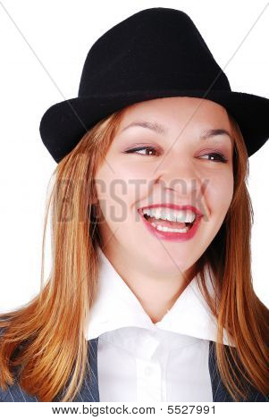 Beautiful Brunette With Hat Laughing