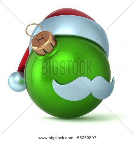 Christmas ball Santa Claus hat New Years Eve bauble ornament green decoration