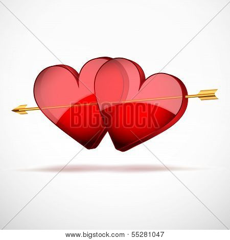 Background Two Hearts and arrow. Valentines Day