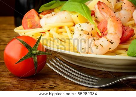 Spaghetti Pasta With Shrimps