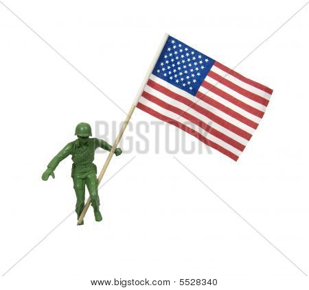 Soldier Waving American Flag