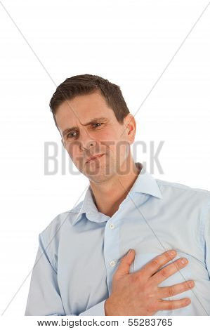 Man Clutching His Chest With His Hand