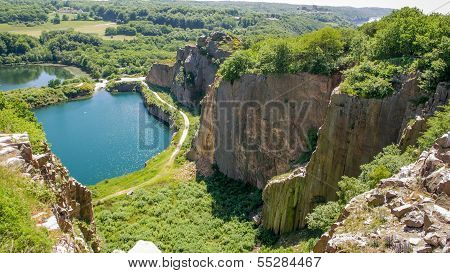 Former Granite Quarry On Bornholm, The Steep Sides Now A Paradise For Sea Gulls.
