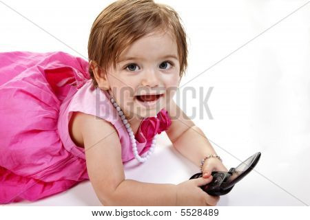 Baby Girl With Cell Phone