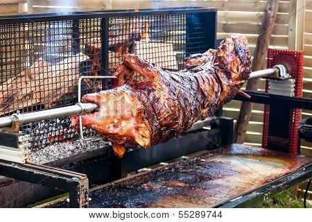 Roasted pig on the rack