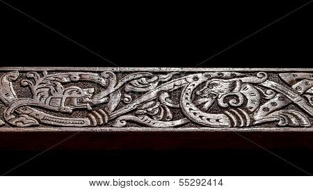 Viking Wood Carving Depicting Two Fire Breathing Dragons Fighting