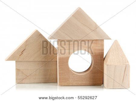 Wood houses isolated on white