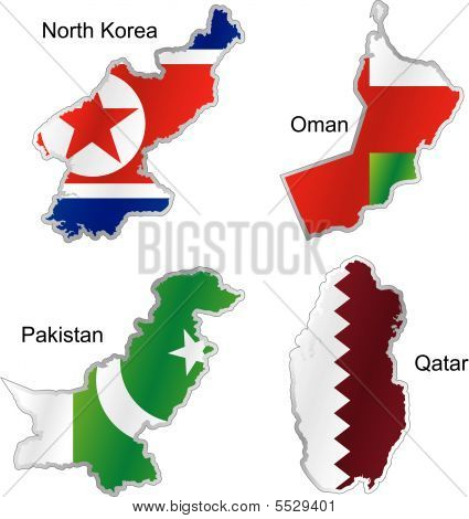 Asian Flags In Map Shape