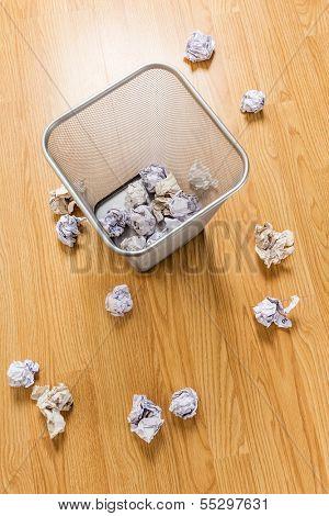 Trash basket and paper ball