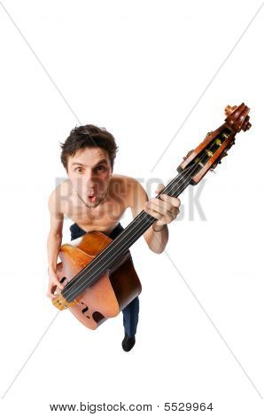 Bass Viol Player On White Background