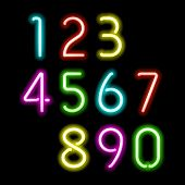 stock photo of numbers counting  - Neon numbers - JPG